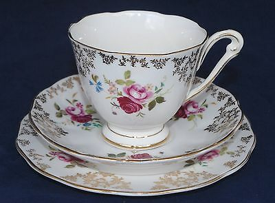 Pretty! Vintage Queen Anne Trio - #5917 Roses with Gold Chintz/Filigree