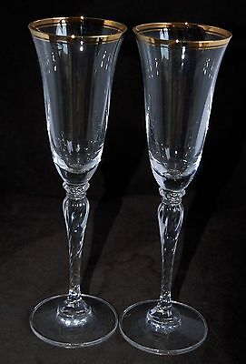 Pair of Tall Champagne Flutes - Gold Bands, Perfect Toasting / Wedding Coupes