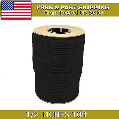 "10ft 1/2"" Black Bungee Cord Marine Grade Heavy Duty Shock Rope Tie Down Stretch"