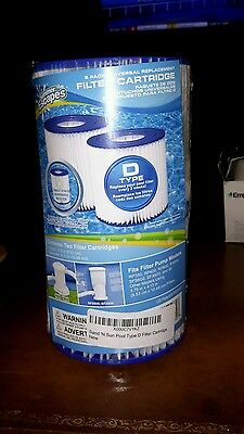 NEW SUMMER ESCAPES UNIVERSAL POOL FILTER CARTRIDGE TYPE D 2 Pack
