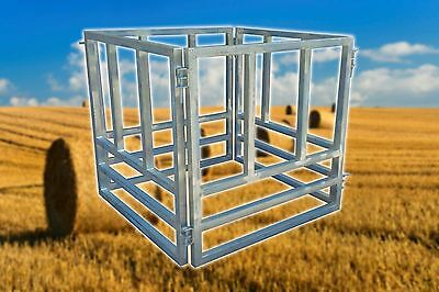 Large Round Bale Hay Feeder, Cattle, Horse, Heavy Duty, 4 Piece.