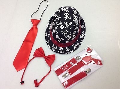 Toddler Fedora Hat, tie, bow tie, and suspenders set suitable for boys or girls