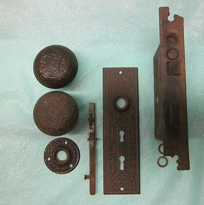 Used Ornate Antique Eastlake Door Knobs and Backing Plates w Mortise Lock Corbin