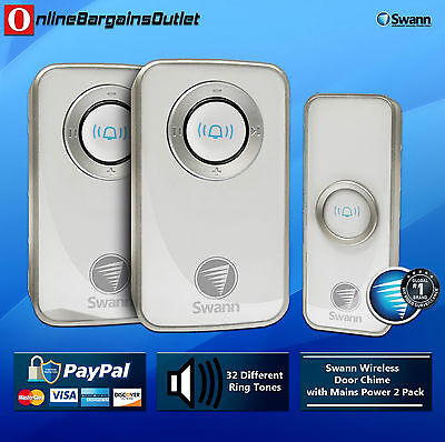 Swann SWHOM-DC820P2 Wireless Door Chime with Mains Power 2 Pack
