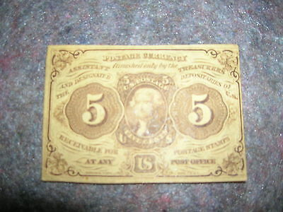 1ST Issue 5 cents U.S.  Fractional Currency- With Monogram