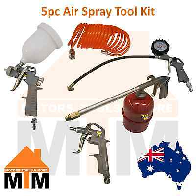 5PC Air Spray Gun Hose Blower Tool Set Kit Compressor Tyre Inflator Gauge