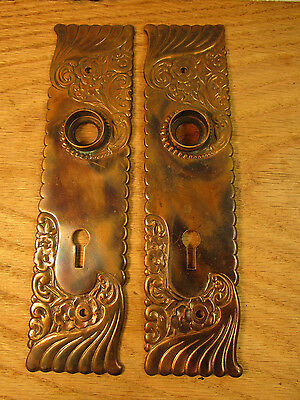 Antique Russell Erwin Arabian Bronze Door Knob Back Plates Art Nouveau PAT 1892