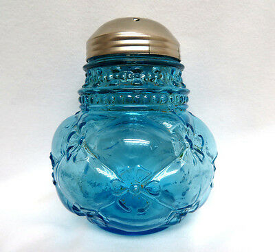 Antique Northwood Blue Glass Sugar Shaker / Muffineer ~ Quilted Phlox Design