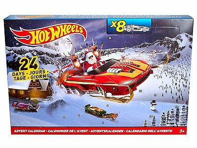 Hot Wheels 2016 Christmas Advent Calendar 8 Cars And 16 Accessories Brand New