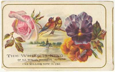 AKP-273 Trade Card The White Sewing Machine Flowers Birds White is King