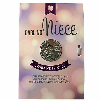 Lucky Coin Greeting Gift Message Keepsake Card -- Darling Niece