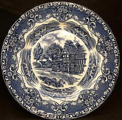 Grindley English Country Inns Staffordshire Plate English Cobalt Blue Boars Head