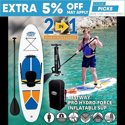 New 3M 2 in 1 Inflatable Stand Up Paddle Board & Kayak (SUP) Surfboard