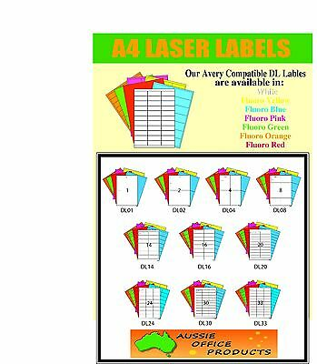 A4 Labels Avery Compatible- 100 Sheets - Dl Range