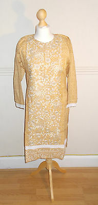 Ladies/Women/Girl Pakistani/Indian Embroided Kurta/Kurti-Cream with Crochet Lace