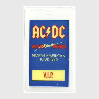 AC/DC VIP 1986 Laminated Backstage Pass