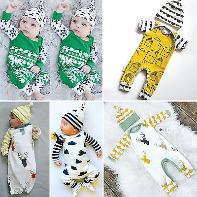 Toddler Baby Kids Boy Clothes Long Sleeve Bodysuit Romper Jumpsuit Outfits 0-24M
