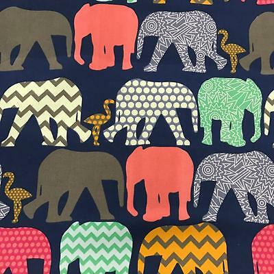 ELEPHANTS Navy Canvas Fabric Material Medium Weight 100% Cotton 150cm Wide