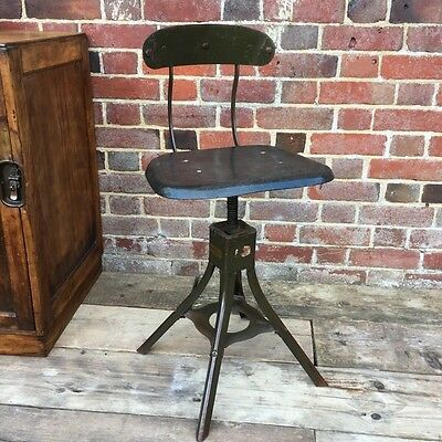 Industrial Vintage Evertuat Factory Machinist Chair Stool
