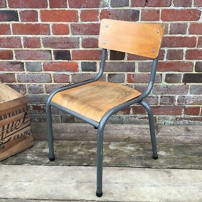 Industrial Vintage Wooden Stacking French School Cafe Chair