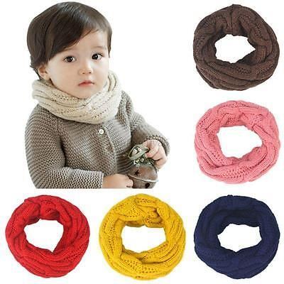 Cute Baby Boy Girl Wrap Neckerchief Scarves Warmer Winter Knit Neck Round Scarf