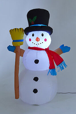 Inflatable 120cm high Light Up Waving Snowman with Broom Decoration Outdoor 1085