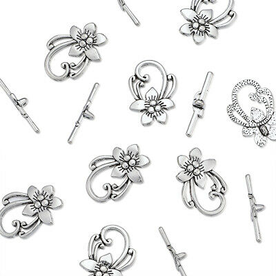 10 Sets Tibetan Silver Toggle Flower Clasps Lead Free Nickel Free Cadmium Free
