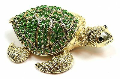 Turtle Trinket Box FengShui Turtle Jewelry Box with Green Crystals, Gold Tone