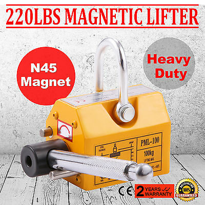 220Lbs Magnetic Lifter Magnet Hoist 100KG Steel Neodymium Baking Paint Shackle