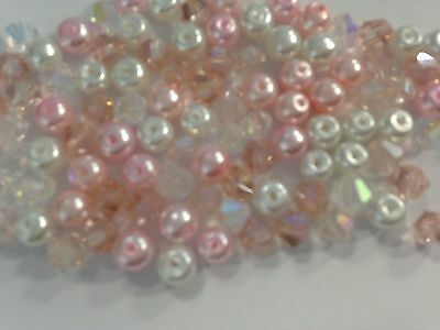 100 Austrian Crystal Glass Bicone Beads And Pearls - Pink/WhiteAB Mix - 4mm