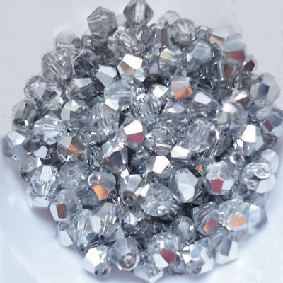 100 Austrian Crystal Glass Bicone Beads Jewellery Making Half Silver-4mm