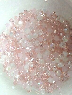 100 Austrian Crystal Glass Bicone Beads  - Pastel Pink AB / White AB Mix 4mm
