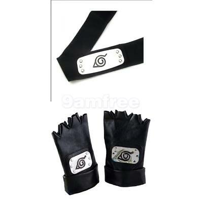 NARUTO Konoha Leaf Village Headband + Pair of Gloves for Kakashi Ninja Cosplay