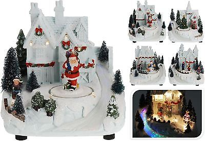 Christmas Xmas Scene with Movement Led Warm White Colour Changing light Ornament