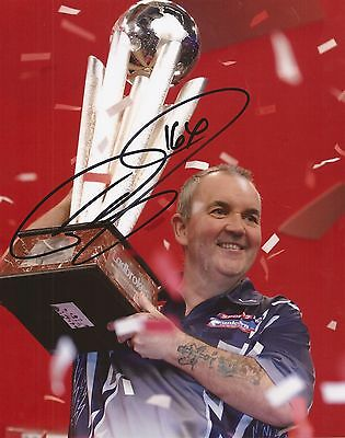 DARTS: PHIL TAYLOR 'THE POWER' SIGNED 10x8 WORLD CHAMPION TROPHY PHOTO+COA