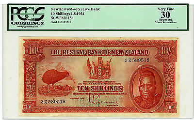New Zealand … P-154 … 10 Shillings … 1934 … *VF*