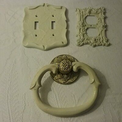 Vintage Ornate Floral single  Double Light Switch Plate Cover Metal towel ring
