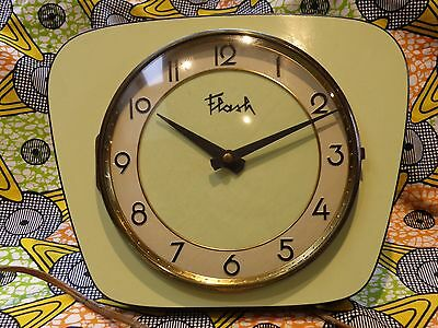 "VINTAGE RETRO FUNKY FREEFORM ATOMIC 1950's FRENCH GREEN BLACK CLOCK "" FLASH """