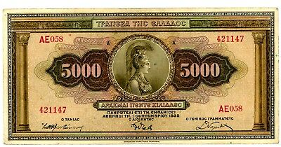 Greece … P-103g … 5,000 Drachmai … 1932 … *F-VF*