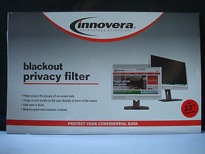 "22"" Widescreen LCD Monitor Blackout Privacy Filter Innovera BLF22W"