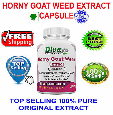 Horney Goat Weed Extract Organic 500 mg Capsules Free WorldWide Shipping