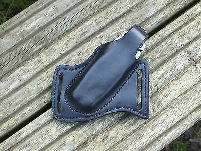 Handmade Leather Forward Carry Sheath, Black, For Leatherman Charge Right Hip