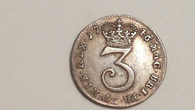 1746 Silver Threepence.High Grade.Geo11. Early British Milled.Sought after date.