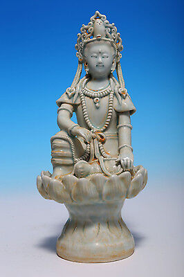 Excellent Rare Old Chinese Celadon Porcelain Buddha Statue Collection WJ658