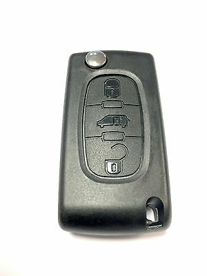 Replacement 3 button flip key case for Peugeot Partner Expert remote fob