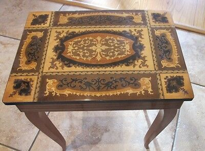 Italian Wooden Inlaid / Marquetry Retro Jewelry / Sewing Music Box Table