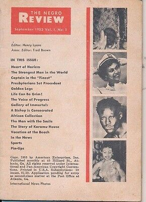The Negro Review September 1953 FIRST ISSUE!! Heart of Harlem Strongest Man