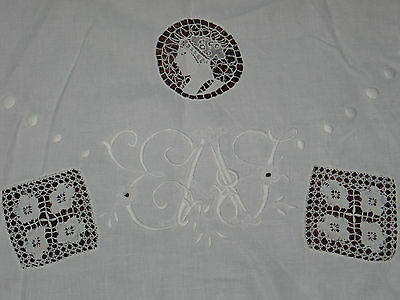 Antique Figural Italian Point De Venise-Bobbin Lace Tablecloth-Round Monogram