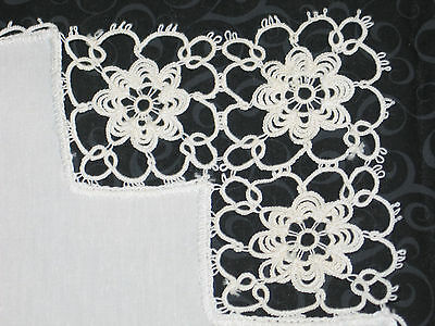 9 Piece set Antique Vtg White Linen Hand TATTED Lace Placemats~8~& 1 Runner