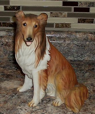 """HOMCO Masterpiece Porcelain 1986 Collie Dog 8"""" Figurine (Signed by Mizuno) AS IS"""